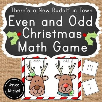 Your students will love playing this even and odd game and finding out who will be Santa's new reindeer. Rudolf's nose goes back and forth between the player's reindeer depending on if the card drawn is odd or even. Once the last card is drawn whoever