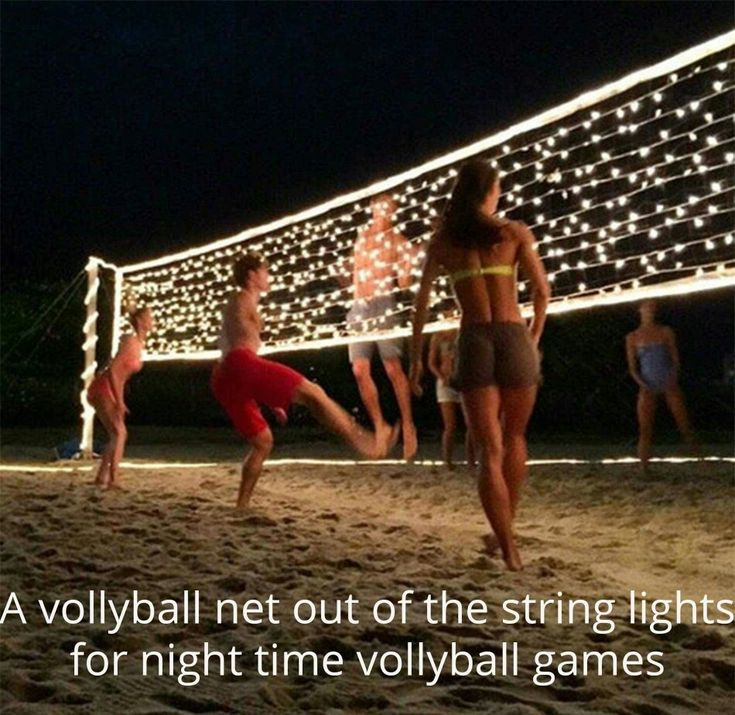 String lights,  bush lights volleyball net for nighttime volleyball. Now, to find a way to light up the ball.