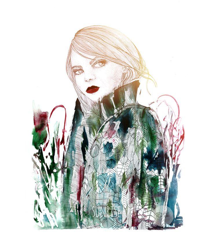 Cara illustration / ink + watercolors + digital