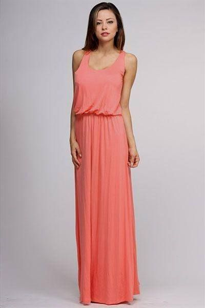 Awesome coral casual maxi dress 2018-2019