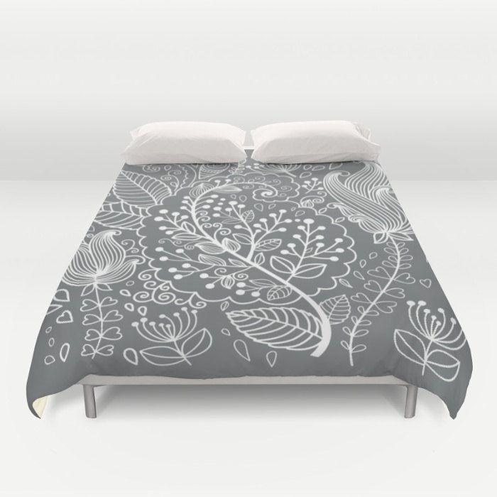 Floral Duvet Cover, Full Queen King, Flower Pattern Bedding, Gray Bed Cover, Modern Bedding, Floral Leaf Comforter Cover, Elegant Bedding by OlaHolaHolaBaby on Etsy