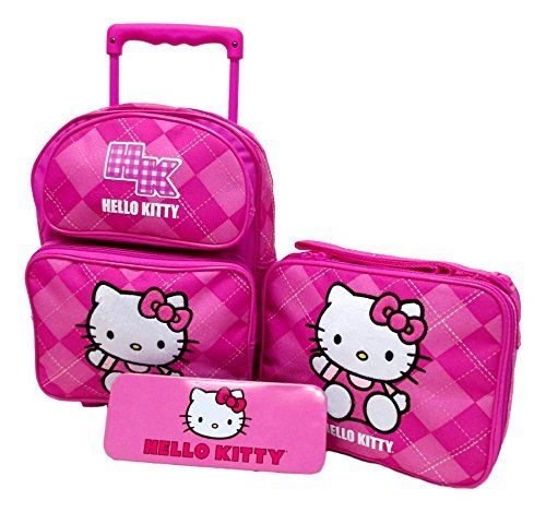 Hello Kitty Preschool Medium 12' Rolling Backpack Roller Wheeled Book Bag, Lunch Box & Pencil Case Set. #Hello #Kitty #Preschool #Medium #Rolling #Backpack #Roller #Wheeled #Book #Bag, #Lunch #Pencil #Case