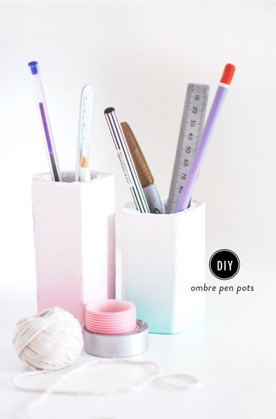 Pen holder that is #ombre #geometric and minimalist. An easy project similar to concrete pots, great for styling your home office. #decor -lh