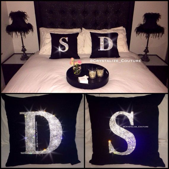 Swarovski embellished monogram cushion covers home decor for Initial decorations for home