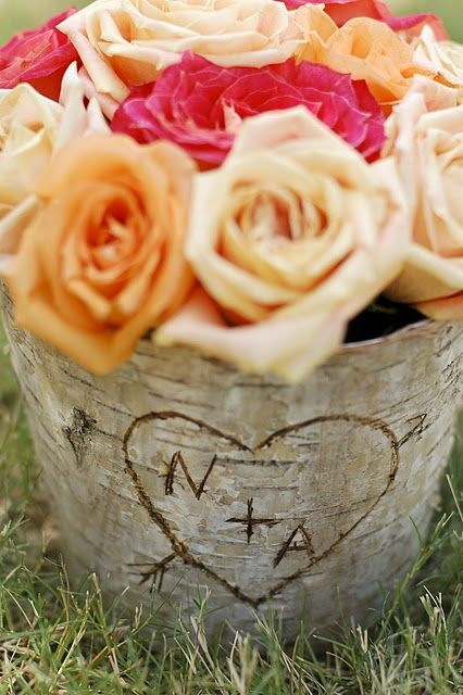 """DIY birch bark vase.  Sweet.  Reminds me of """"The Giving Tree"""".  Nice for anniversary or wedding."""