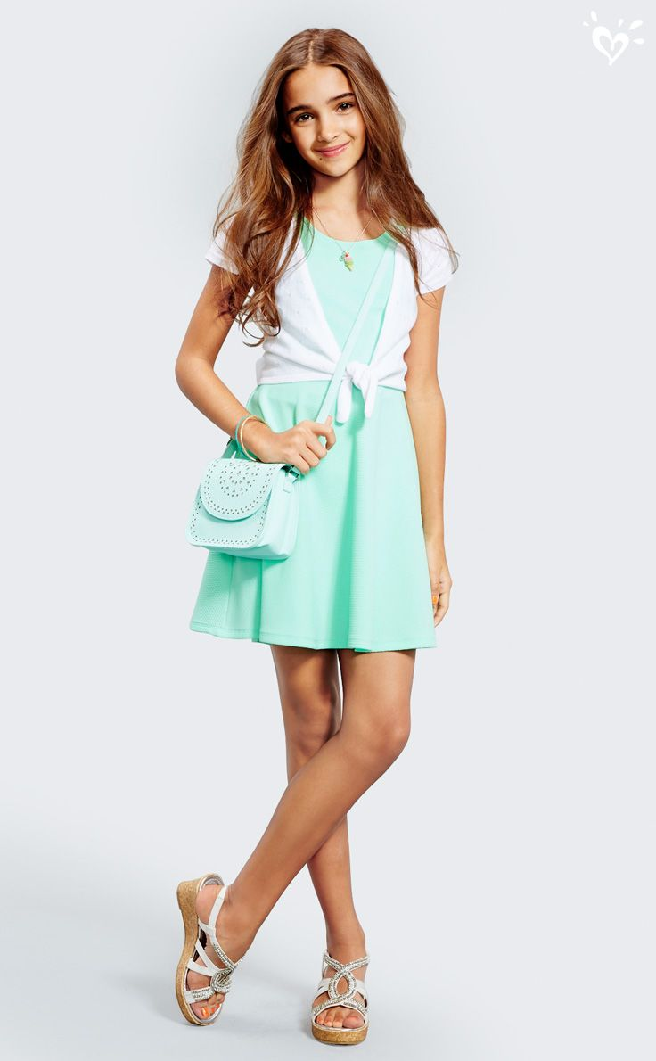 A breezy tie-front shrug adds summer style to a minty-sweet fit and flare dress. Don't forget your glittery bag and standout sandals!