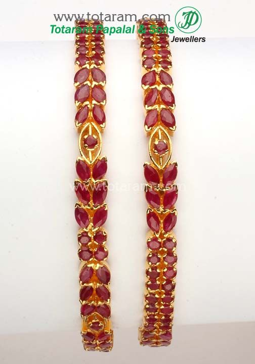 Totaram Jewelers: Buy 22 karat Gold jewelry & Diamond jewellery from India: 22K Fine Gold Ruby Bangle - Set of 2(1 Pair).