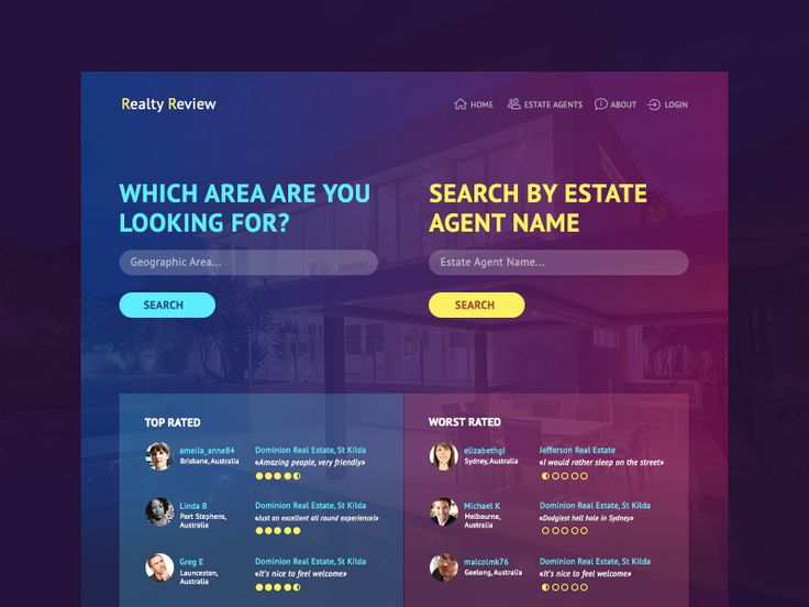 Main page of Realty agency