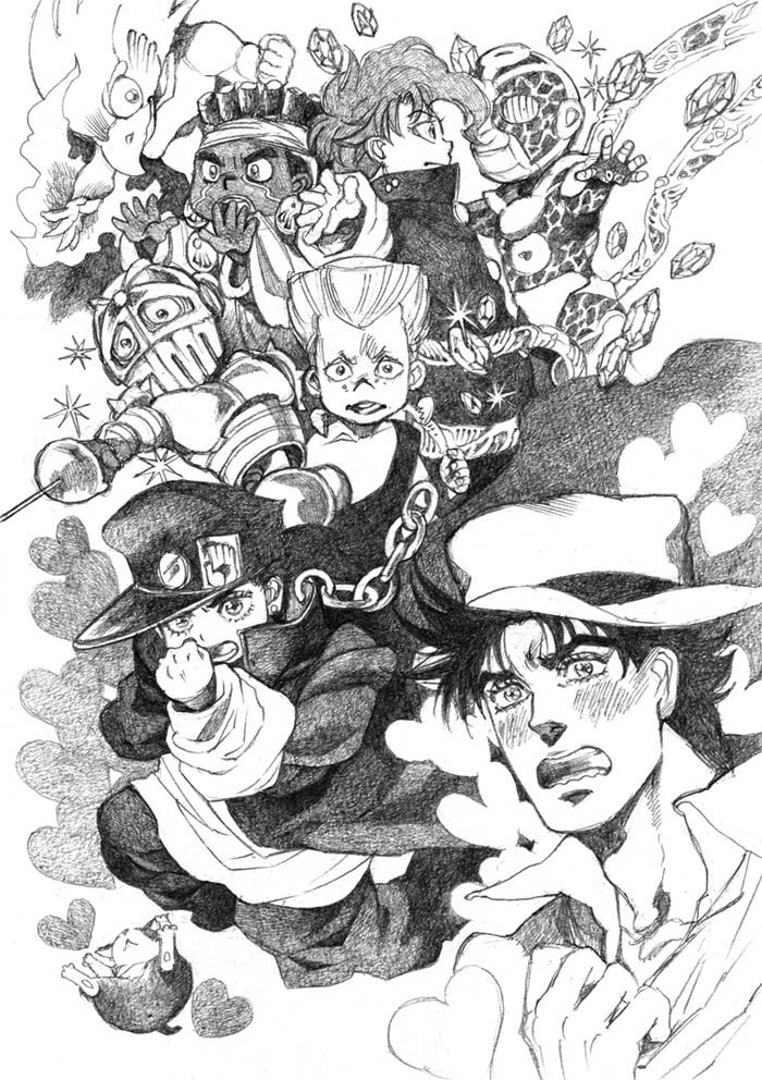 """giogiomaula: """" Stardust Crussaders got attacked by Alessi's stand and became younger! Art by Bud. """""""