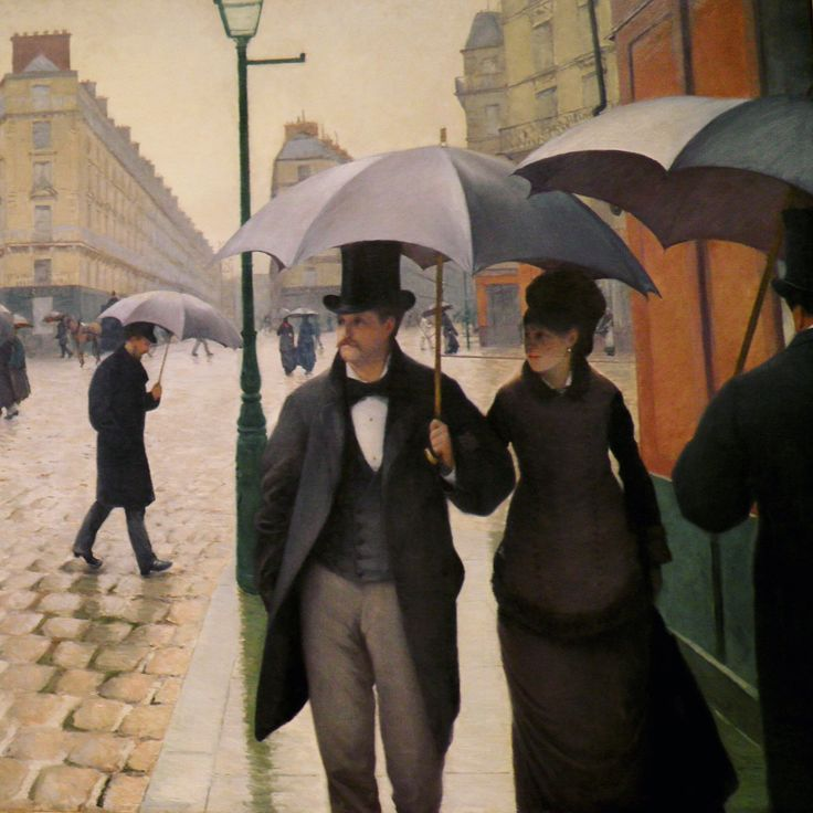 """In """"History of Costume: 19th Century,"""" our students are investigating how the redesigning of Paris with wide boulevards created a new arena for the fashionable display of the bourgeoisie, along with a modern sense of anonymity. """"Paris Street, Rainy Day"""" by Gustave Caillebotte, 1877, part of the collection at  @artinstitutechi. #caillebotte #fashionhistory #paris"""