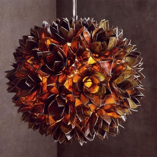 $530.00 Roost Lotus Flower Chandeliers - Smoke Glowing chandeliers are assembled from a multitude of hand-cut capiz shells. It is also known as Roost Capiz Shells Chandelier