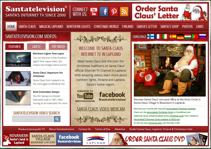 Our Internet TV www.Santatelevision.com : Official Internet TV with videos about Santa Claus, reindeer and Lapland in Finland, Santa Claus' home in Rovaniemi.