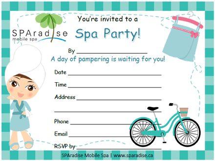 Printable Girls Spa Party Invitation \u2013 orderecigsjuiceinfo