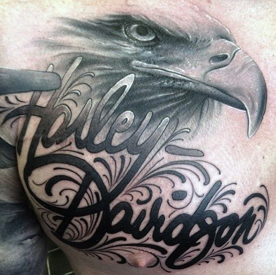 Decorative Guys Tattoo Harley Davidson On Chest With Bald Eagle