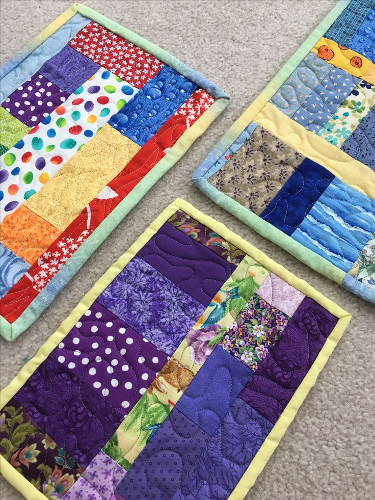 Super Scry Quilted Mug Rugs Rainbow Blues And Purples Made By Handmade In Southampton