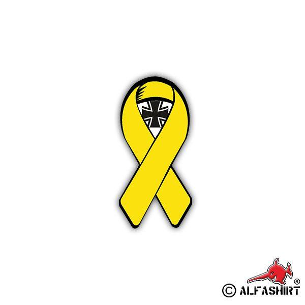 Gelbe Schleife mit EK - Aufkleber #alfashirt#gelbeschleife#bw#bundeswehr#militär#military#solidarität#treue