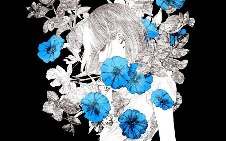 art beautiful japanese girl flowers black background Canvas Wall Poster