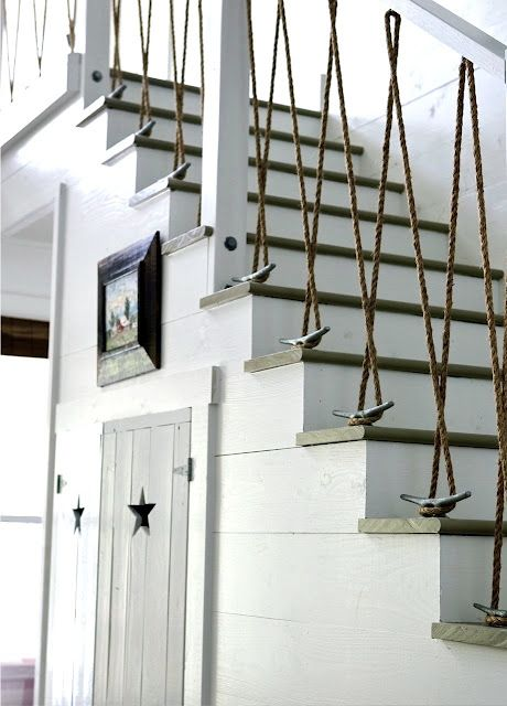 cleat and rope stair railing, would be great to think up one for your sport of choice! Horse bits n reins, dog leashes... hum...