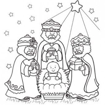 Three Wise Men Colouring Page
