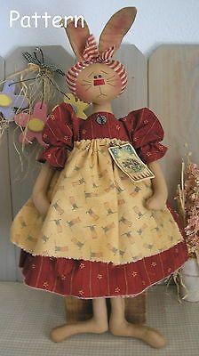 Pattern Primitive Raggedy Folk Art Spring Bunny Rabbit Cloth Fabric Doll Sew 10   eBay