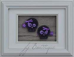 Black and Purple Skull Hair Clips - hc039 -$5.00 for pair available on jLj Bowtique