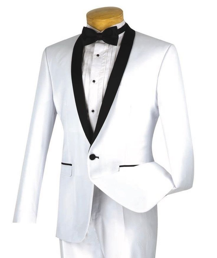 Men's White Slim-Fit One Button Formal Tuxedo Suit NEW w/ FREE Shipping #suits #menswear #tuxedo #wedding #prom