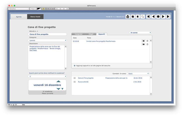 La scheda Agenza in cui inserire gli appuntamenti.  dbPERSONA è l'agenda personale per computer desktop (Windows e MacOs) in cui inserire recapiti telefonici, indirizzi dei propri contatti, privati e professionali, pianificare un'attività, un'evento, prendere appunti suddividendo in tipologie e tag i propri taccuini e collegare gli appunti al relativo evento.  Prezzo Euro 179,00 https://www.alkestudio.it/blog/prodotto/dbpersona/