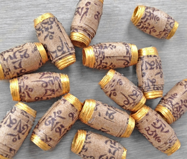 Mantra Beads - Buddhist Prayer Scroll Handmade Recycled Paper Beads - Om Mani Padme Hum - 14 Beads