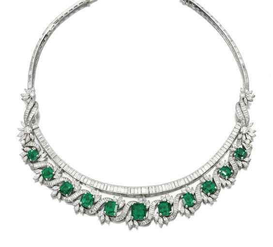 Fine emerald and diamond necklace, 1970s