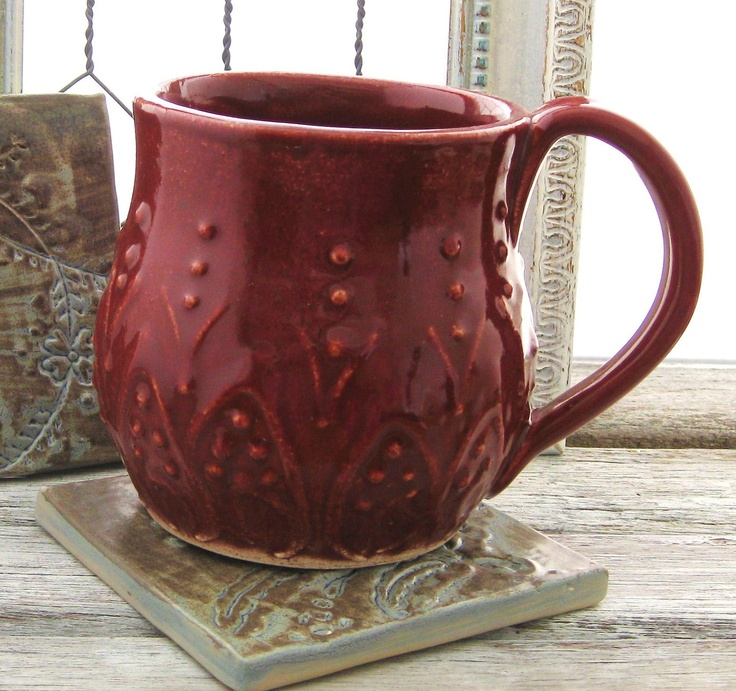 Beautiful Boho Mediterranean Mug in deep red.  (I have one - great hefty mug!)