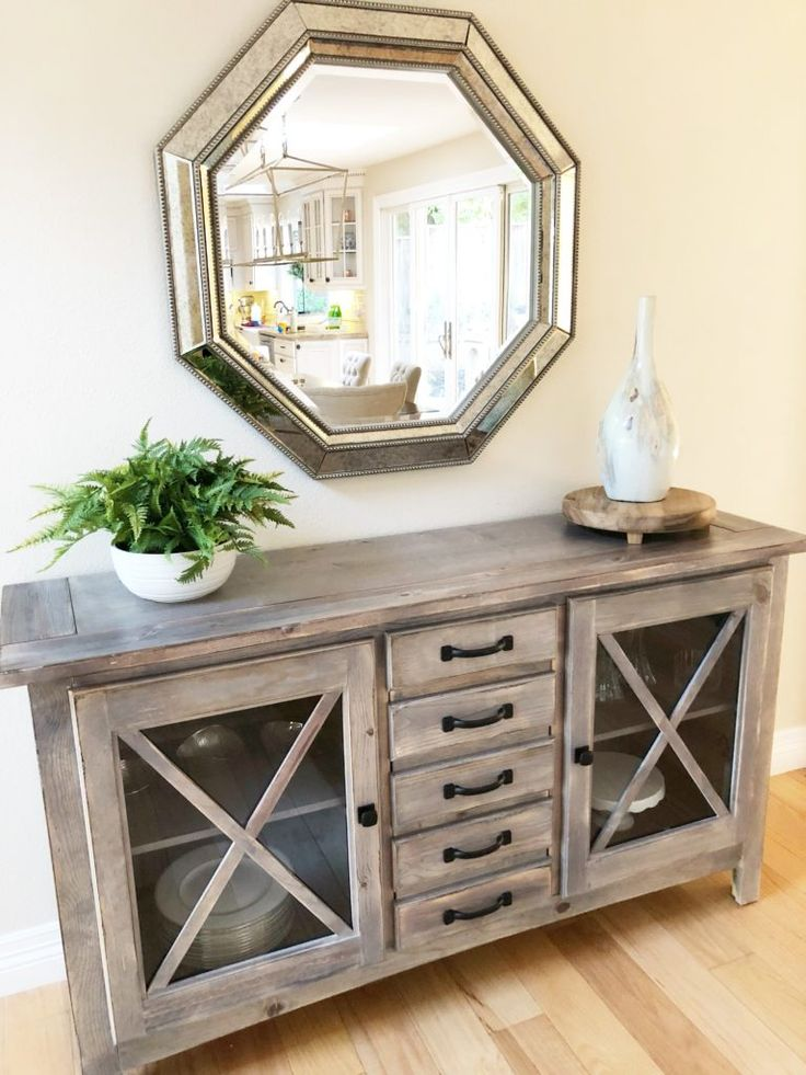 This Buffet And Gorgeous Mirror Bring Purpose Warmth To Dining Room Wall Find