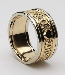 gaelic inscription - Love, Loyalty, Friendship. The men's ring is called Sean meaning God's gracious gift! So fitting!