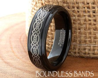 Men's Tungsten Wedding Band Celtic Golden Dragon by PCHJewelers