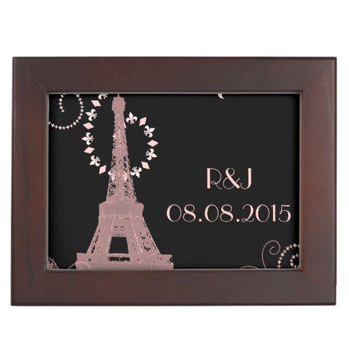 black pink eiffel tower vintage paris wedding keepsake box