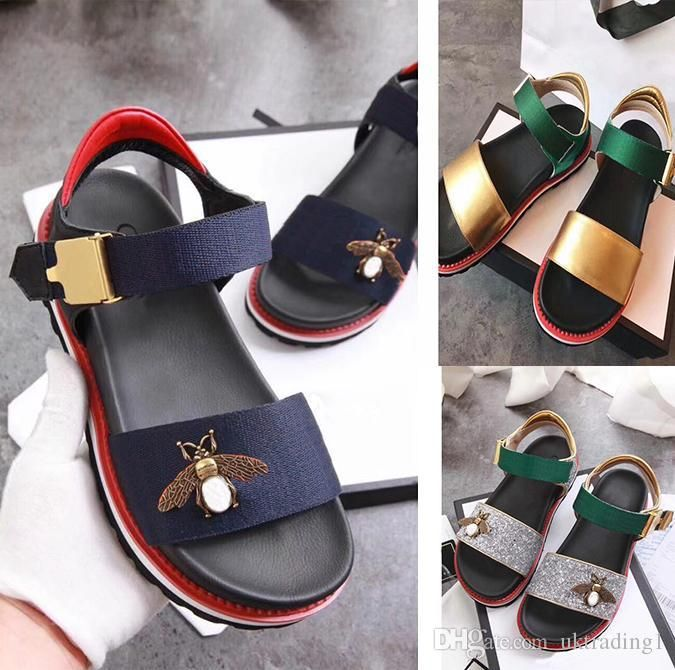 25b55499b New Thick Bottom Leather Word With A Band Toe Little Bee Women Sandals  Female Summer Wild Shoes Comfortable European And American Wave Flat Shoes  Wedge ...
