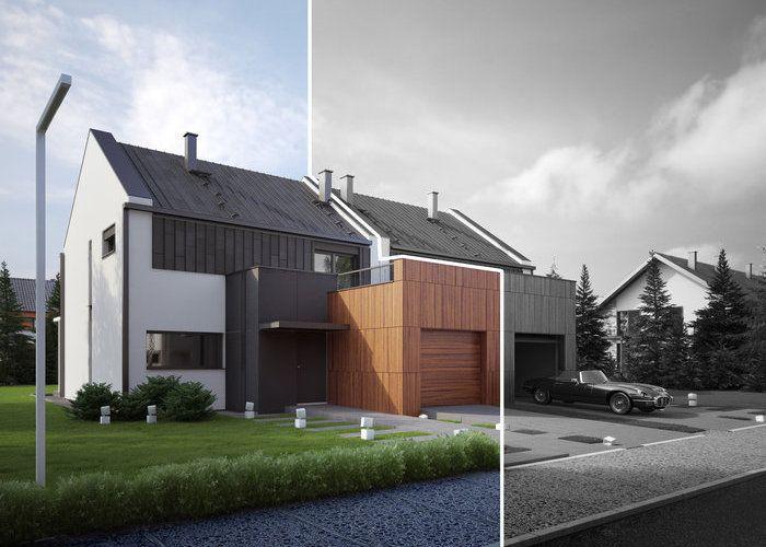 TWIN MODERN A-L  to propozycja niskoenergetycznego budynku bliźniaczego o nowoczesnym charakterze. #domowy #domowypl #nowoczesny #blizniak #dom #rodzinnydom #oszczednydom #ekodom #tanidom