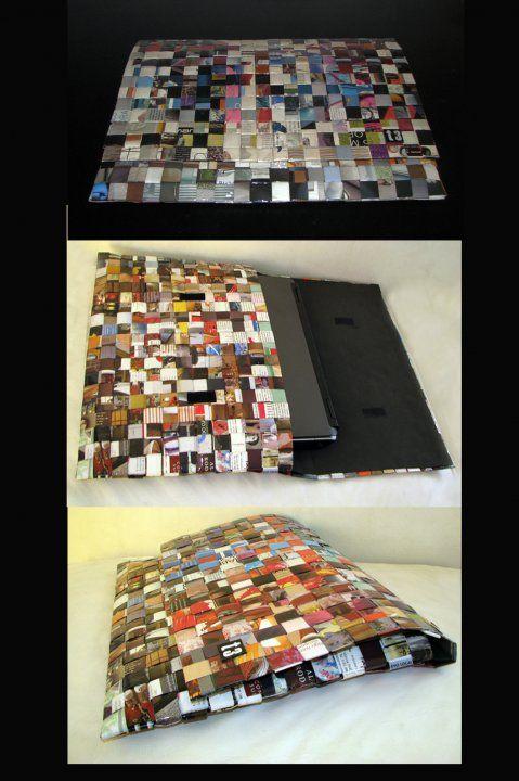 Fundas para notebook y netbook. Realizadas con trenzado de revistas recicladas.Forradas en su interior para proteger la maquina