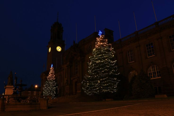 Christmas trees outside South Shields town hall.