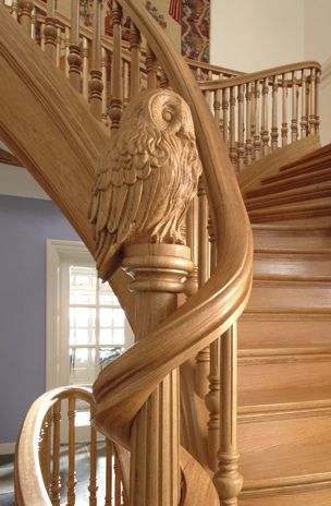 Owl carving on stair newel post. Trapart - Special stairways by order