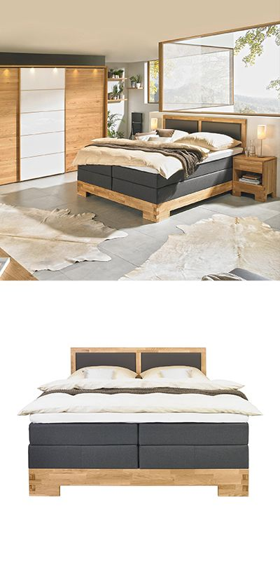 Boxspringbett 180 Cm X 200 Cm In Holz Textil Braun Eichefarben