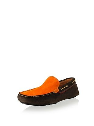 50% OFF Bacco Bucci Men's Adani Two Tone Suede Driver Slip On (Brown/Orange)
