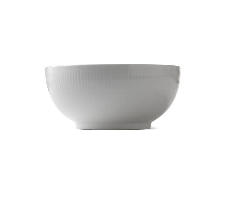 Hvid Riflet Skål 21 cm