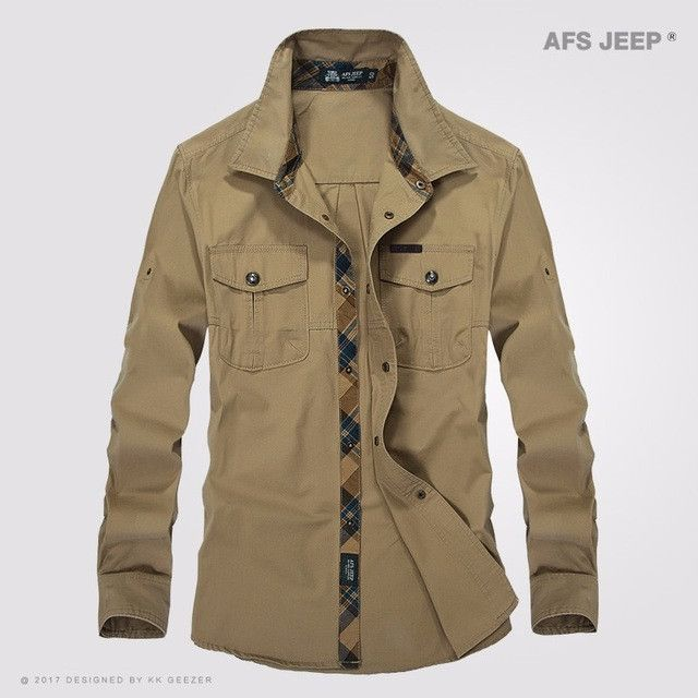 AFS JEEP Men Cotton Fashion Casual Shirt Long Folding Sleeve Leisure High Quality Breathable Business Autumn Army Military Dress