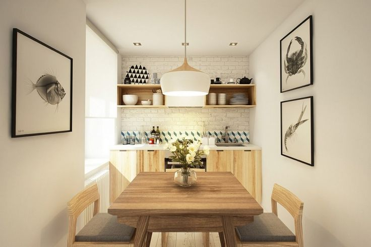 Decoration: Beautiful Modern Kitchen Decor Ideas Featuring Minimalist Wooden Dining Table With Simple Chairs Also White Pendant Lamp In Addition To Wodoen Kitchen Cabinet With Sleek White Countertops And White Brick Backsplash Ideas: Good Looking Homes Under 499 Square Feet ( With Floor Plans)