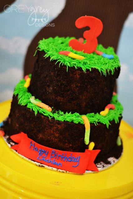 Fun cake at a Dirt, Mud, & Worms Birthday Party!  See more party ideas at CatchMyParty.com!