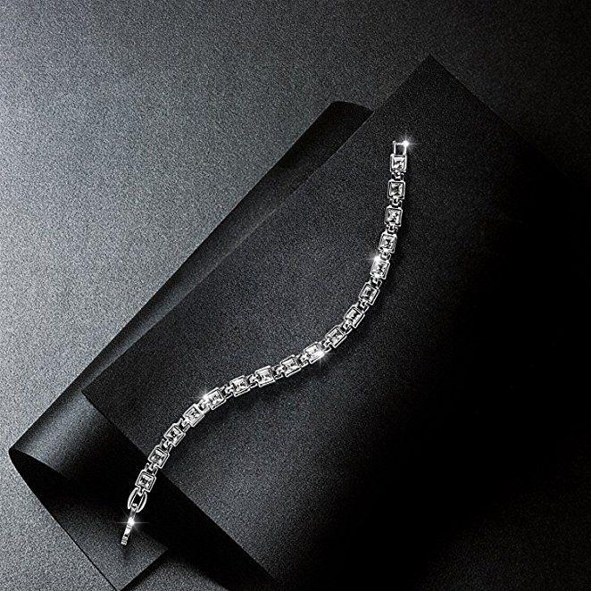 """Amazon.com: Women Tennis Bracelet Swarovski Elements Crystal Jewelry for Wedding Anniversary Birthday Gifts, 7.5"""" (White): Jewelry"""