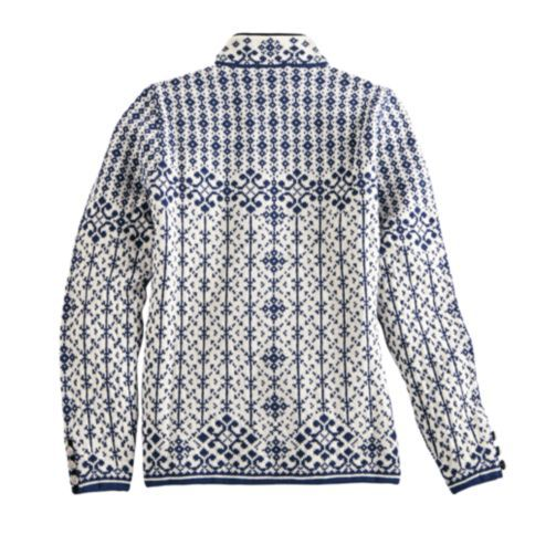 The classic Scandinavian pattern of this blue and white cardigan is inspired by 19th-century Norwegian designs.