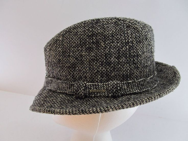 Vintage Stetson Hat Harris Tweed Wool Fedora Trilby Medium Gray Excellent USA  #Stetson #FedoraTrilby