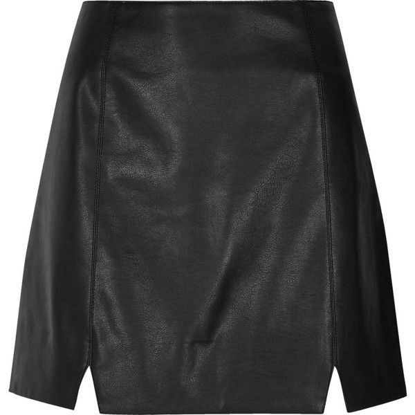 River Island Black faux leather notch front mini skirt ($56) ❤ liked on Polyvore featuring skirts, mini skirts, black, women, tall skirts, vegan leather mini skirt, leather look mini skirt, imitation leather skirt and river island