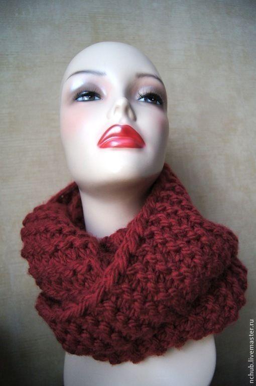 Купить Шарф-снуд вязаный из толстой пряжи Бордовый - шарф вязаный, снуд, снуд вязаный